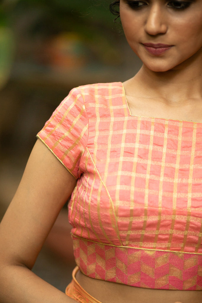 Peach and gold checked chanderi cotton silk square neck blouse with brocade border detailing - House of Blouse