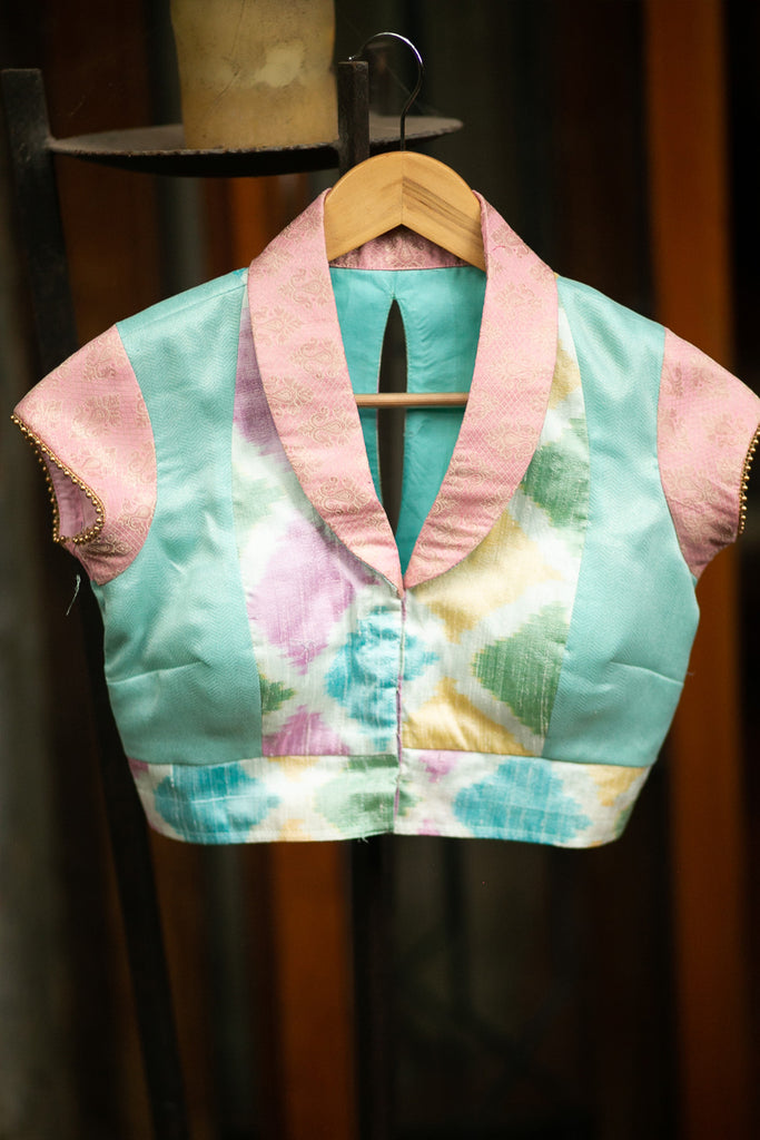 White and multicolour Ikat raw silk mixed fabric V neck collared blouse with gold bead edging - House of Blouse