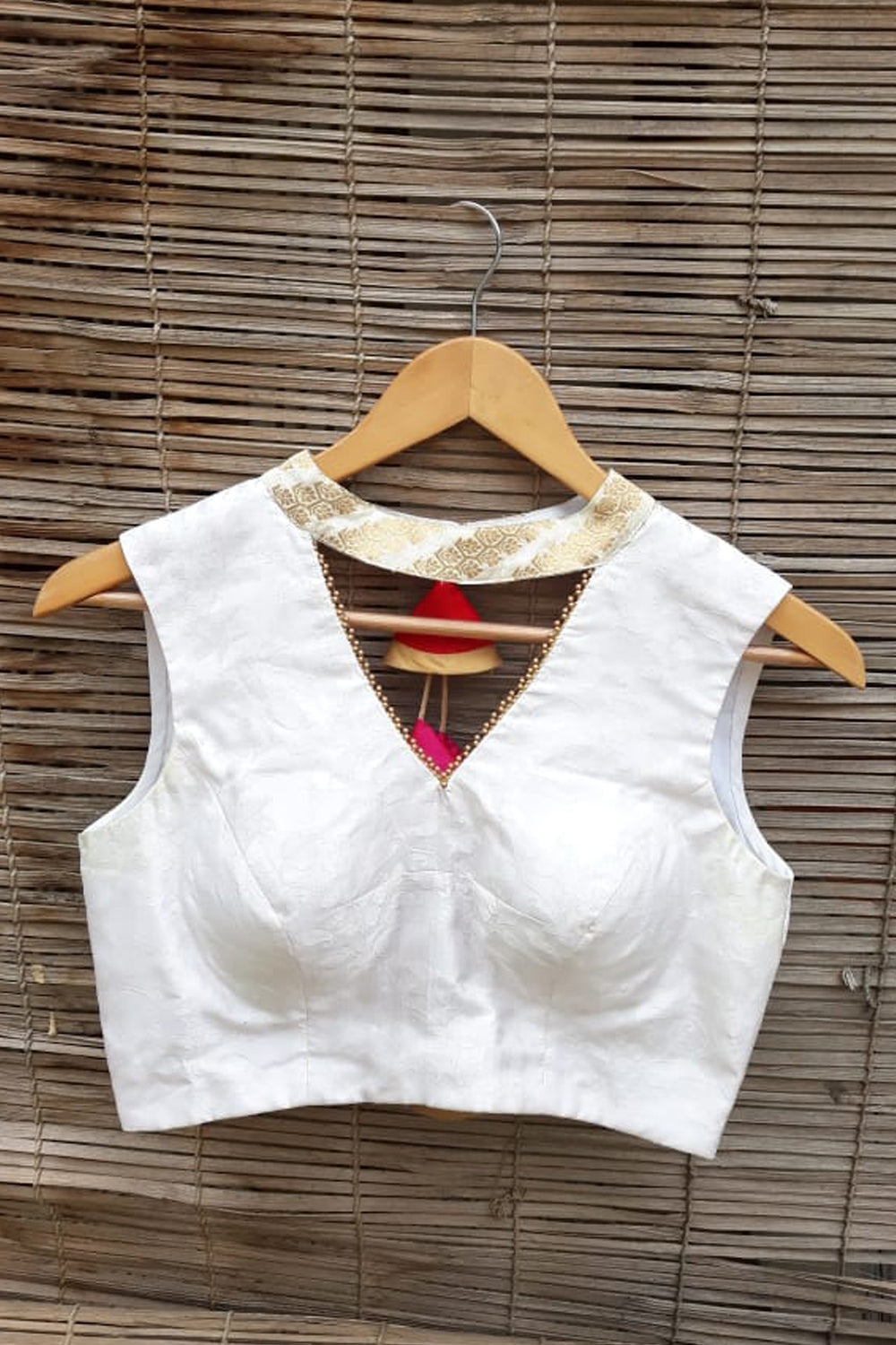 White embossed satin brocade blouse with brocade collar and gold bead edging - House of Blouse