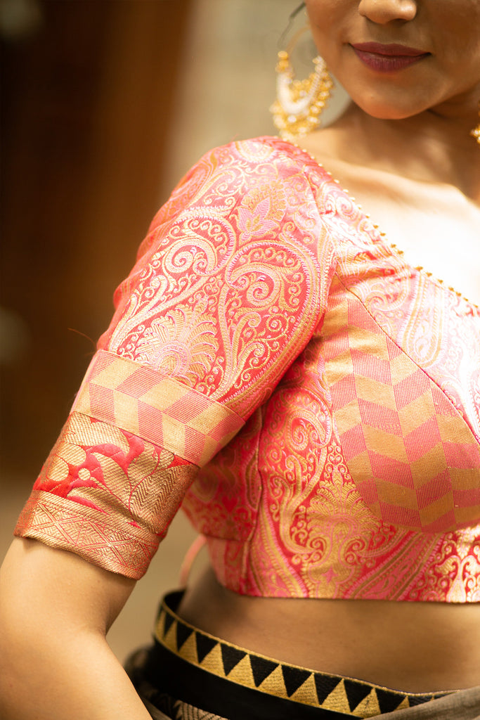 Peach pink and gold brocade two fabric bustier blouse tie back blouse with gold bead edging - House of Blouse