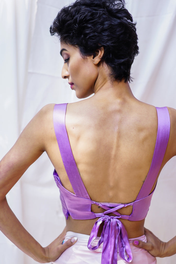 Lilac pure satin Sweetheart neck blouse with criss cross tie back - House of Blouse