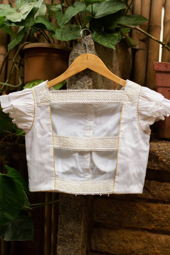 White raw silk double flutter sleeve blouse with lace detailing and gold piping - House of Blouse