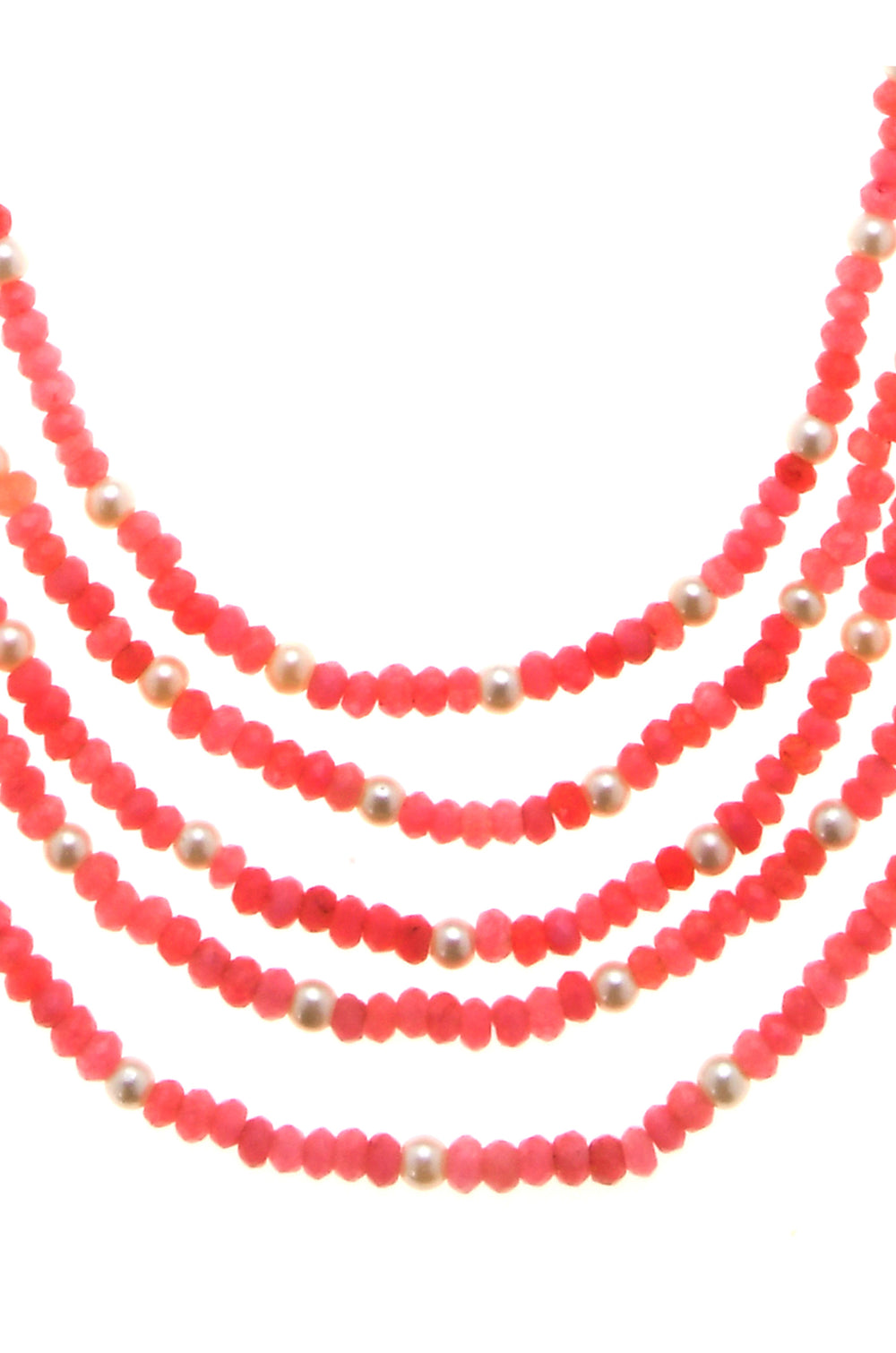 Heer Pink White Handcrafted Onyx Necklace - House of Blouse