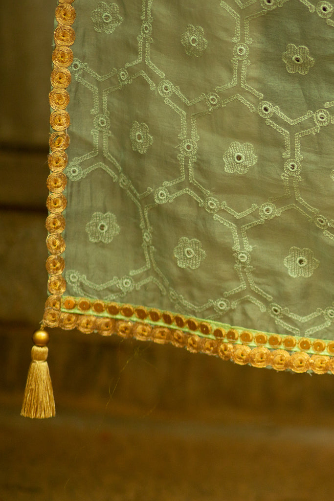 Sea green organza and semi matka silk half and half saree with gold sequin border - House of Blouse