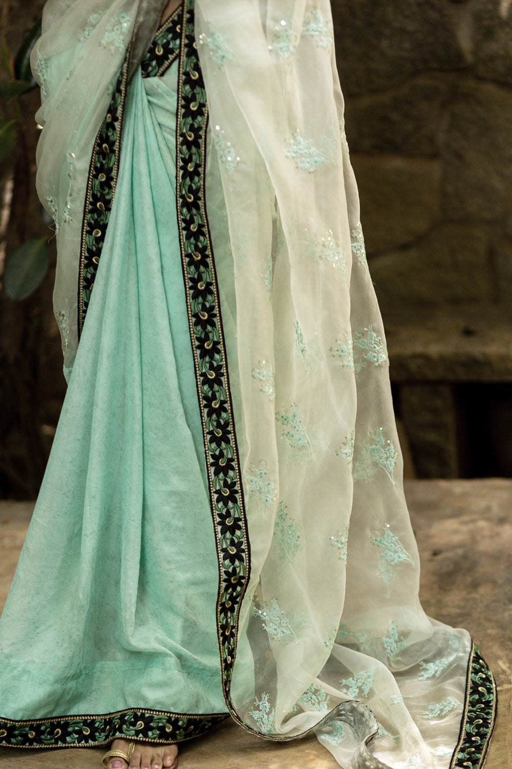 Sea green embroidered organza and shimmer georgette half and half saree with black floral border - House of Blouse