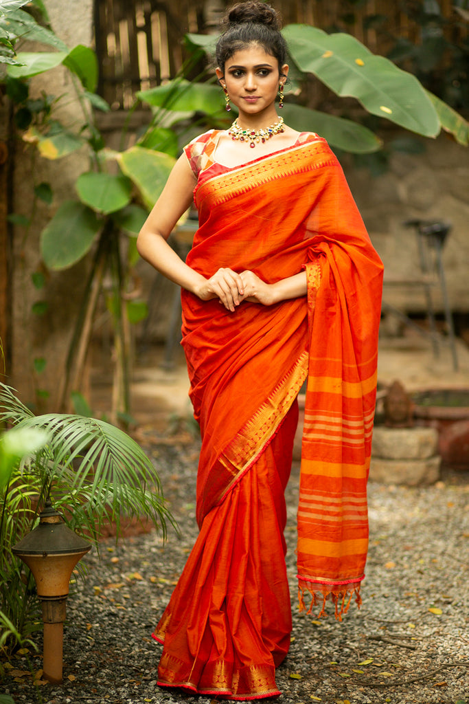 Orange Naranyanpet handloom cotton saree with zari border and orange-gold frill edging - House of Blouse