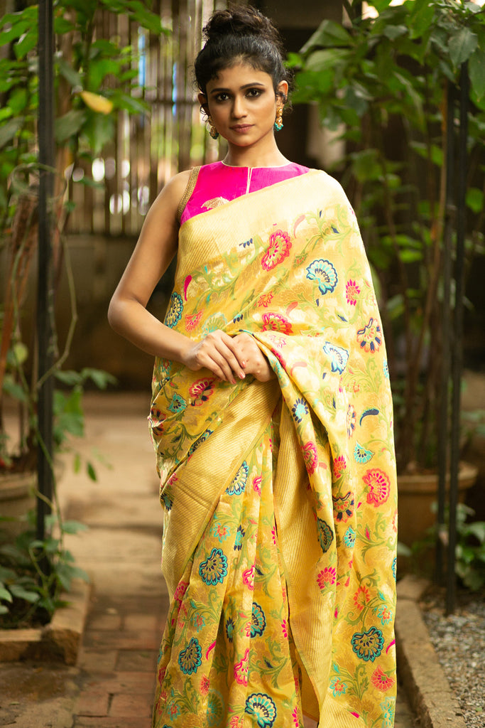 Yellow floral Banarasi tussar saree with zari border - House of Blouse
