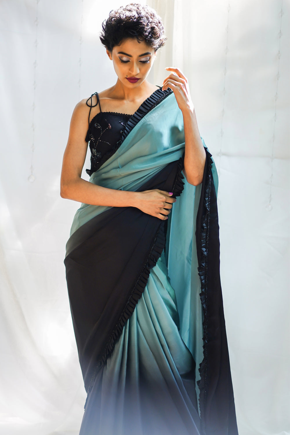 Black and greyish blue shaded pure satin saree with frills and black beads border - House of Blouse