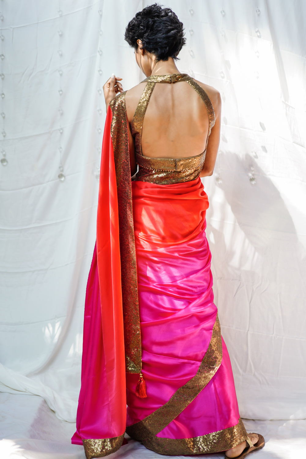Pink and orange shaded pure satin saree with sequin border - House of Blouse