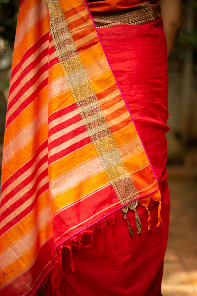 Red Naranyanpet handloom cotton saree with zari and orange border and pink piping - House of Blouse