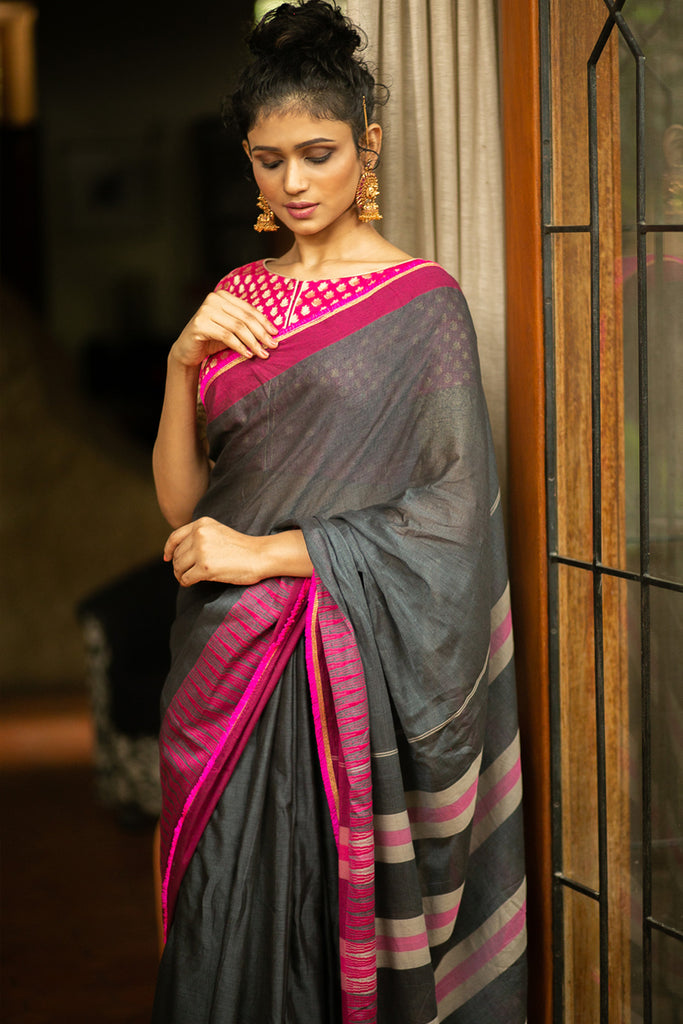 Grey Naranyanpet handloom cotton saree with magenta border and pink-gold frill edging - House of Blouse
