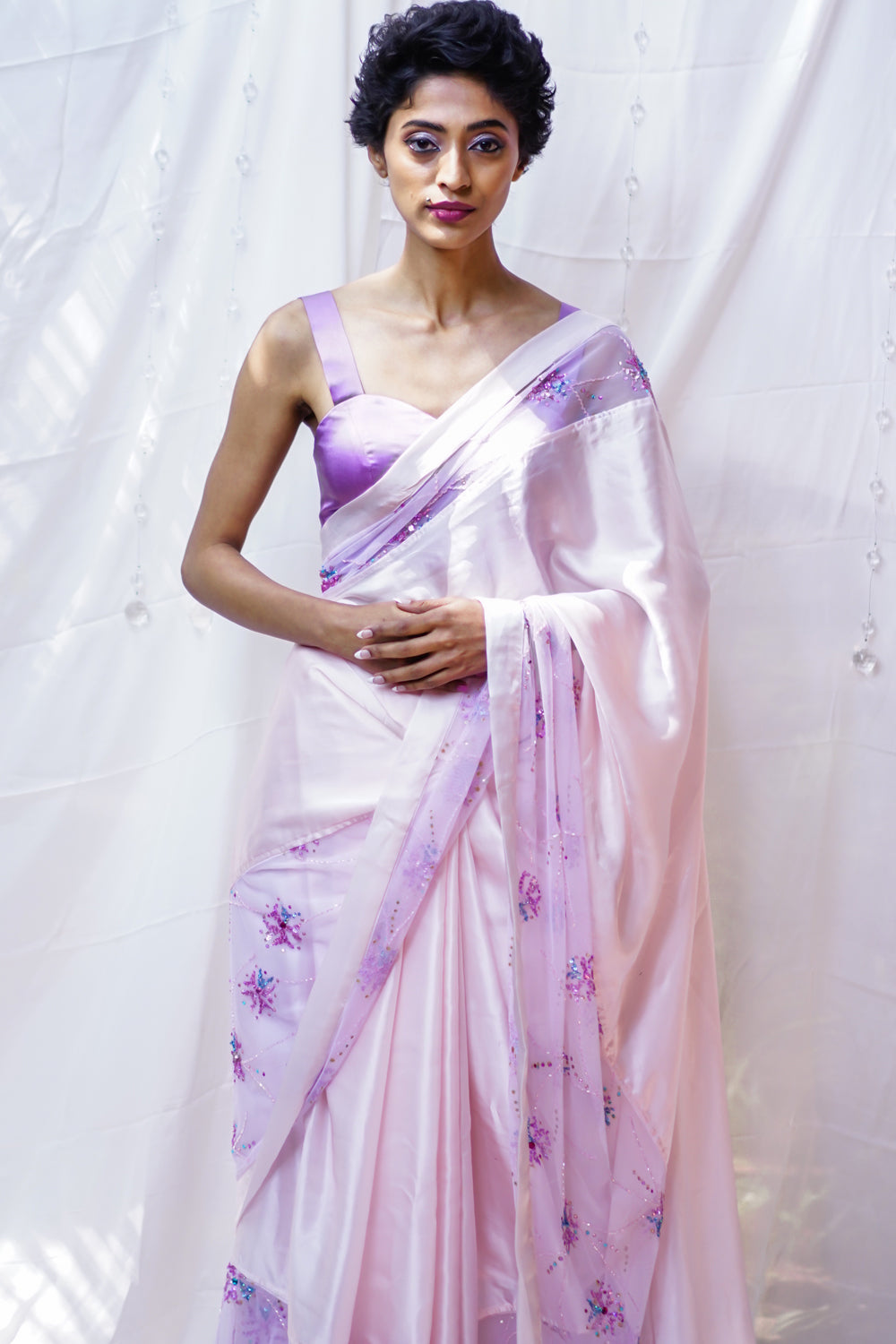 Baby pink pure satin saree with embroidered net and satin border. - House of Blouse