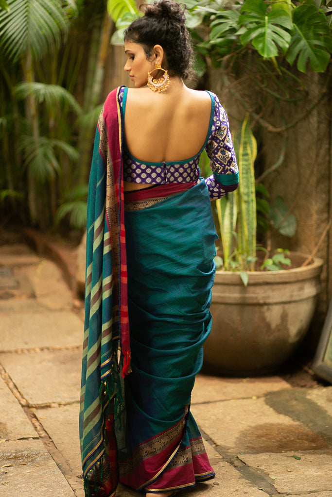 Peacock green Naranyanpet handloom cotton saree with magenta border and navy-gold frill edging - House of Blouse