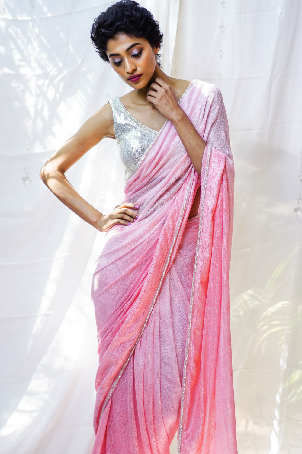 Rose Pink ombre shaded lace saree with silver bead border - House of Blouse
