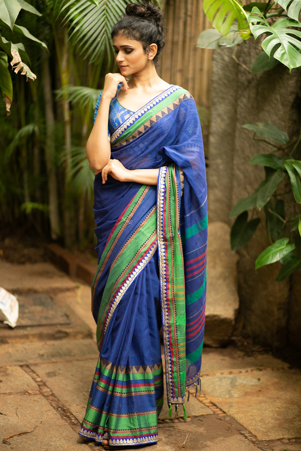 Prussian blue Naranyanpet handloom cotton saree with green and blue-gold zari border - House of Blouse