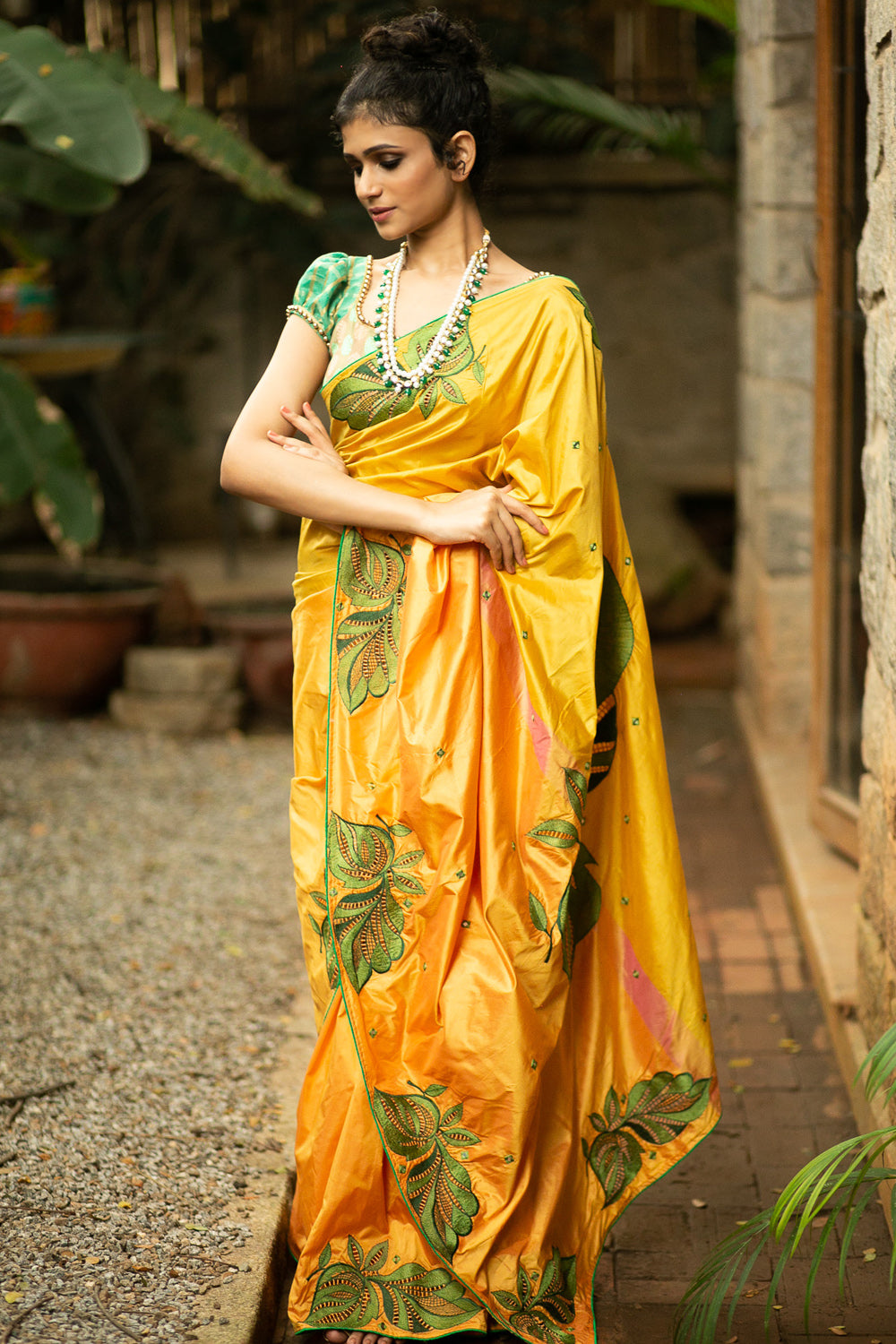 Mustard yellow silk saree with green cutwork embroidery and mirrorwork on pallu - House of Blouse