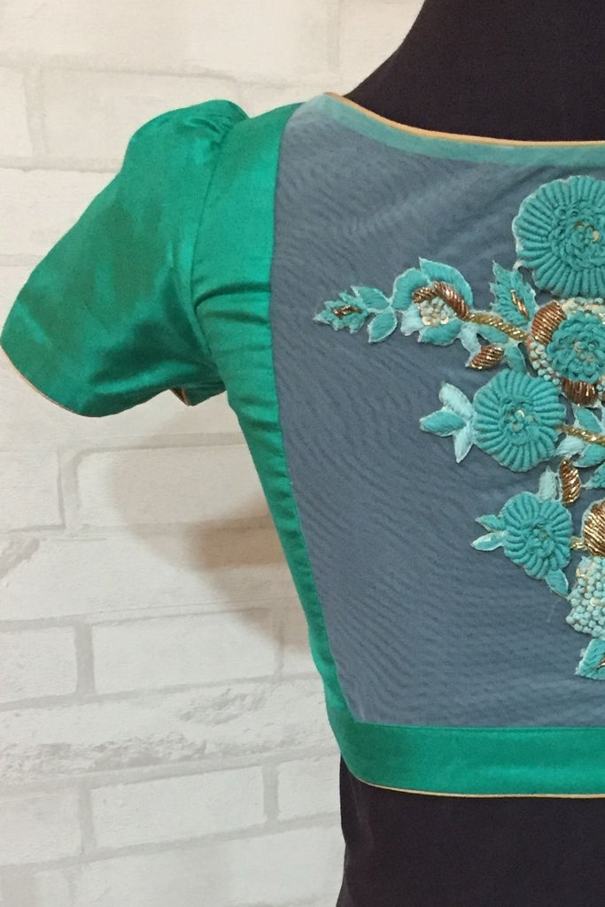 Seagreen sweet heart blouse with a embroidered sheer back - House of Blouse