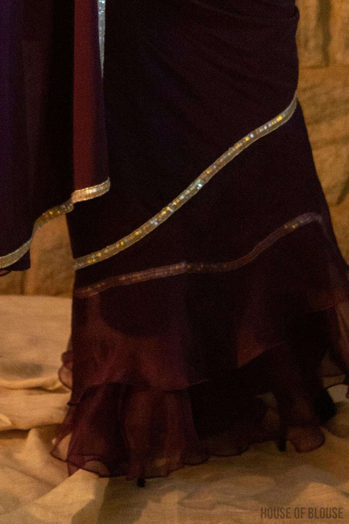 Aubergine Pure silk crepe and silk organza ruffle saree with silver bead border - House of Blouse