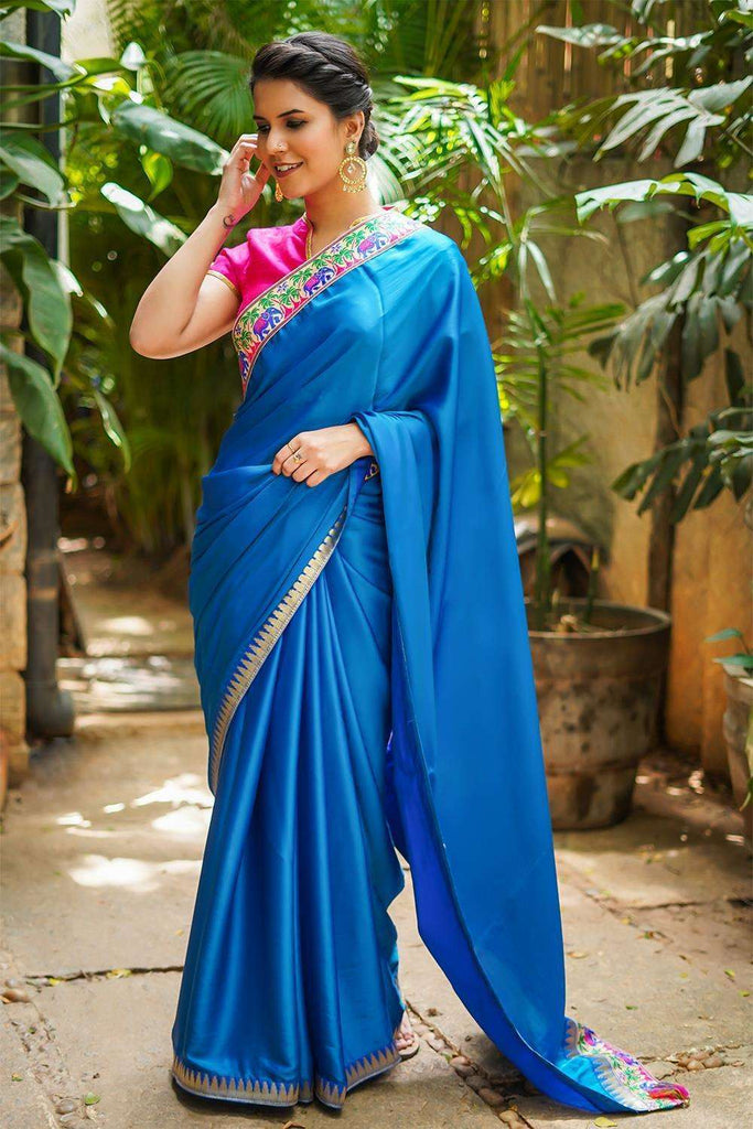 Azure blue soft satin saree with Banaras threadwork and Blue zari temple border - House of Blouse