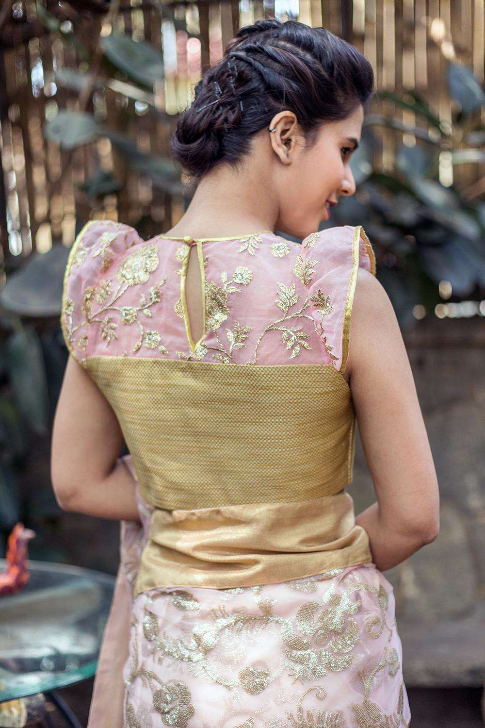 Baby pink and gold brocade sheer yoke blouse with flutter sleeves - House of Blouse