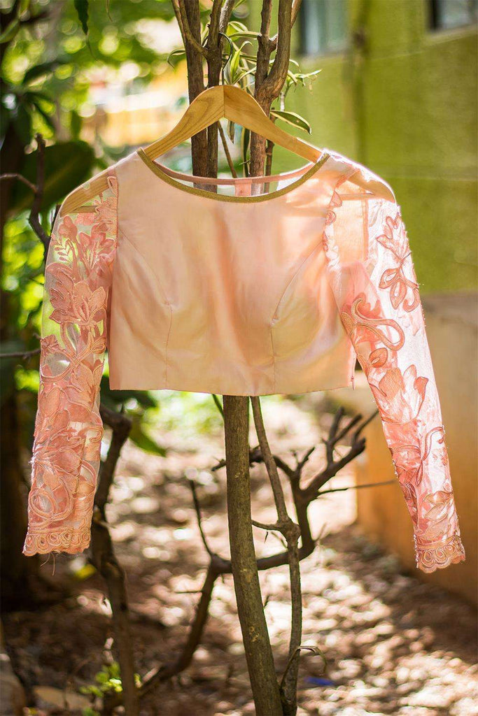 Baby pink silk and lace sheer back blouse - House of Blouse