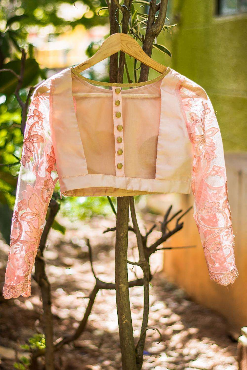 Baby pink silk and lace sheer back blouse