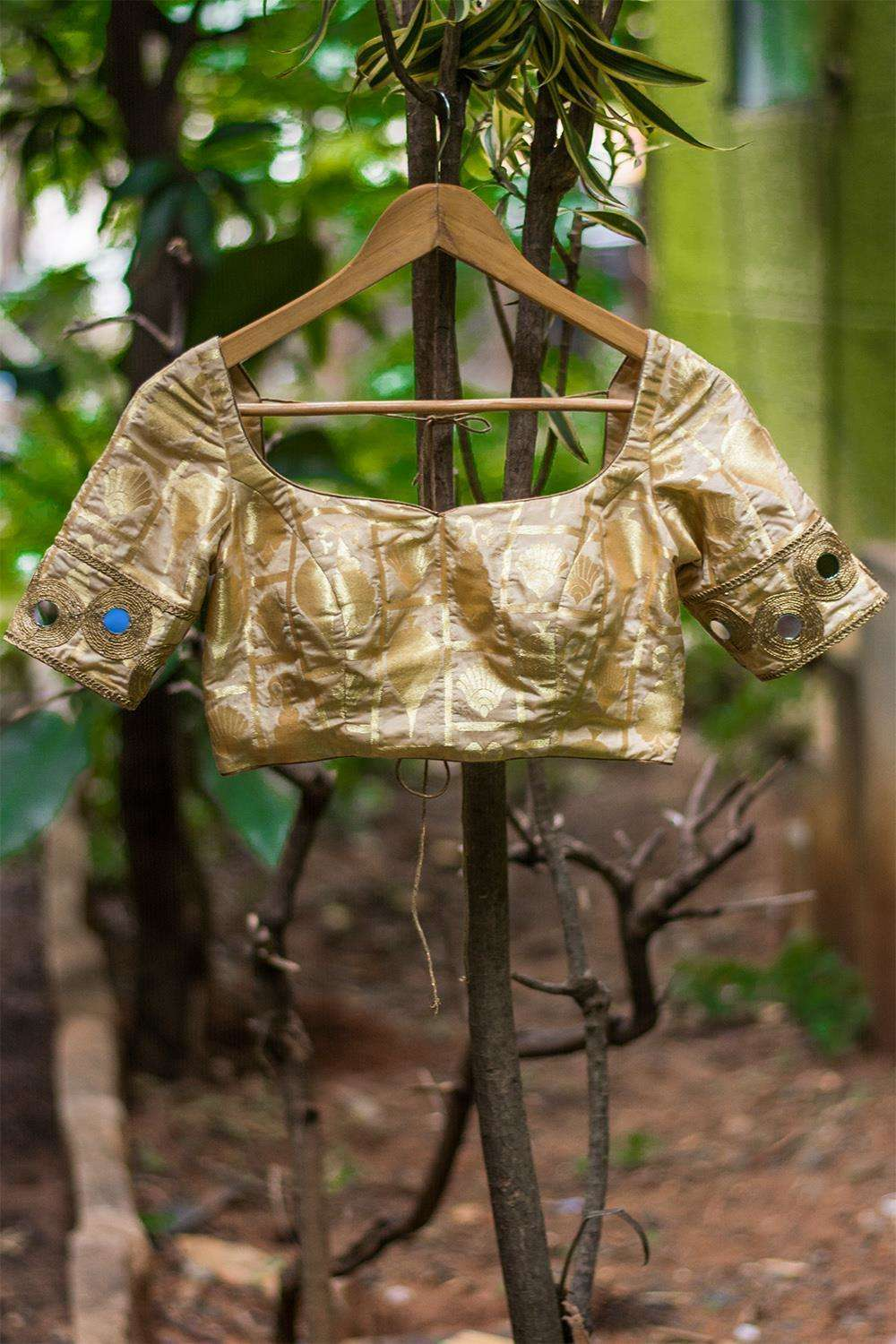 Beige brocade double tie back blouse with mirror work border - House of Blouse