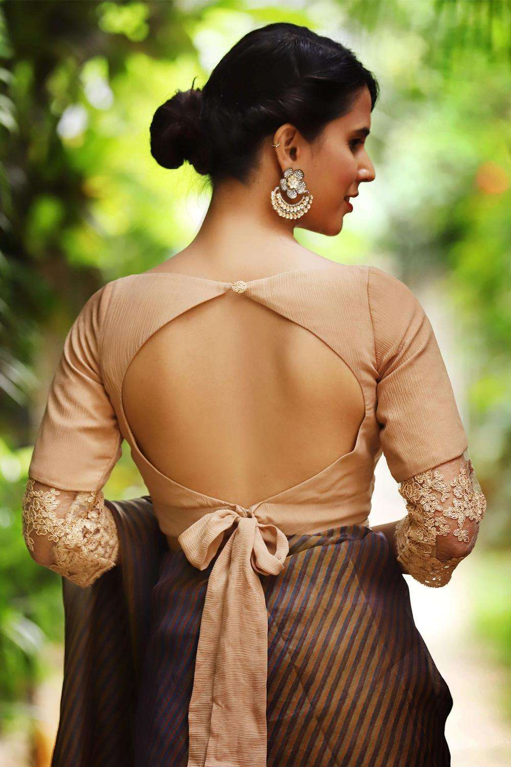 Beige chiffon blouse with chiffon and lace sleeve