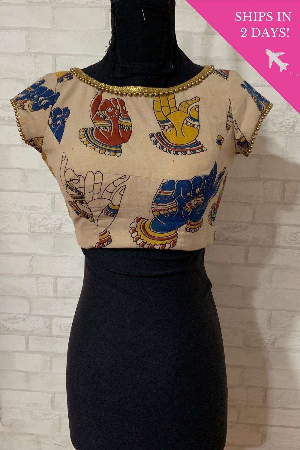 Beige Kalamkari cotton sheer back blouse; Size: 34