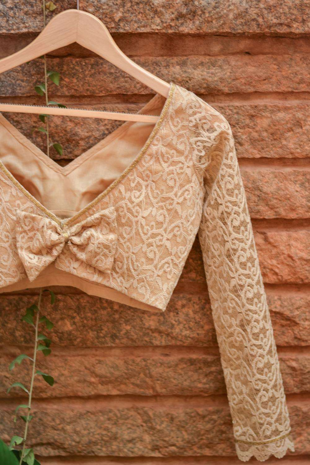 Beige lace V neck full sleeves blouse with back detailing - House of Blouse