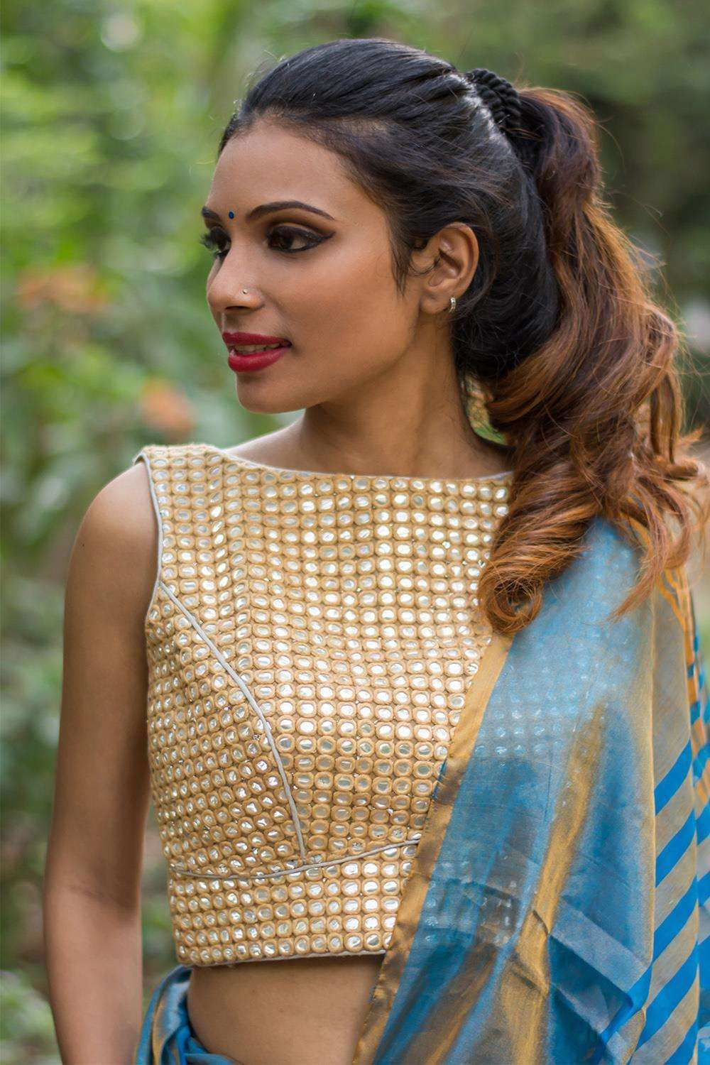 Beige mirrorwork boatneck sleeveless blouse   Rs 3650.00 RS. 2555.00 - House of Blouse