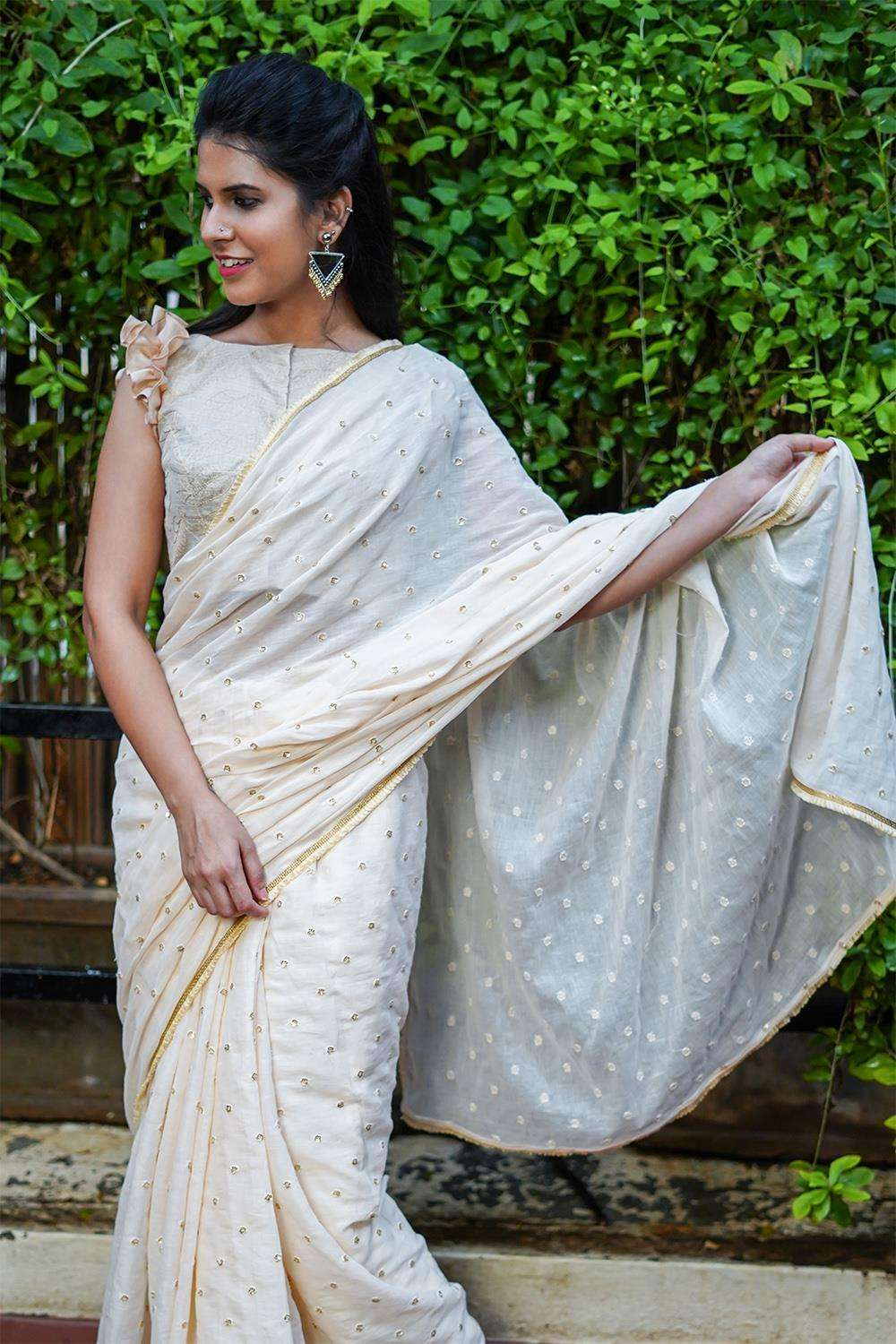 Beige mul cotton with gold sequin motifs and frill edging - House of Blouse