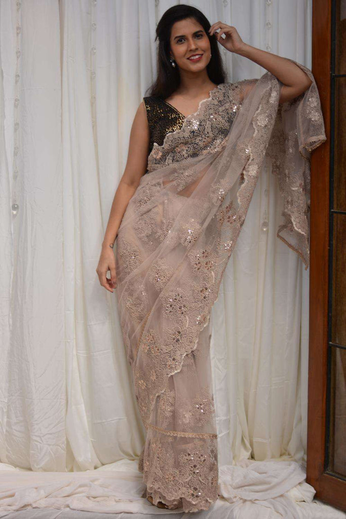 Beige net saree with lacy self-coloured threadwork