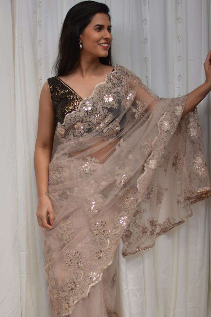 Beige net saree with lacy self-coloured threadwork - House of Blouse