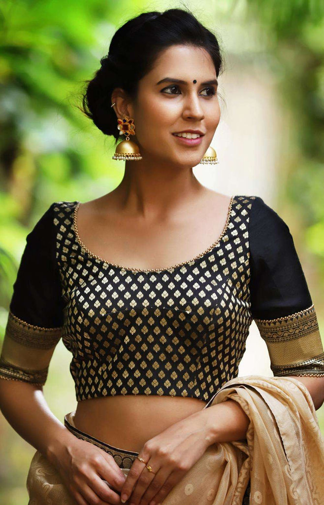 Black and gold brocade blouse with raw silk sleeves and gold bead edging - House of Blouse