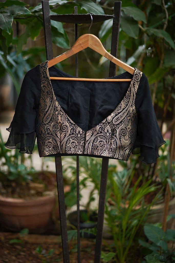 Black and gold brocade boatneck blouse with chiffon bell sleeves - House of Blouse