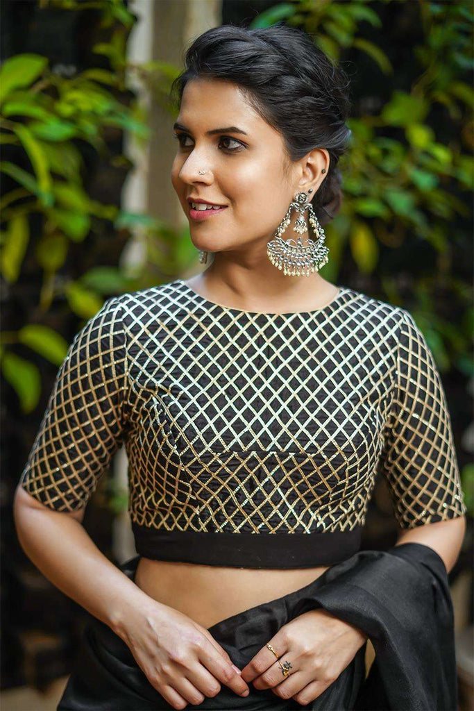 Black and gold gota work blouse with tie back - House of Blouse