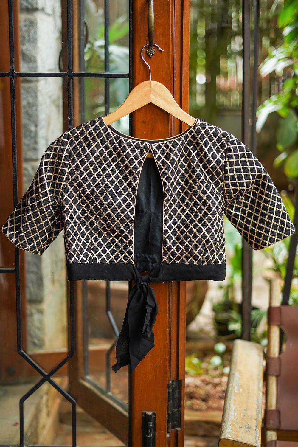 Black and gold gota work blouse with tie back