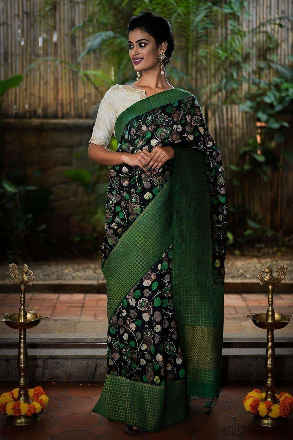 Black and green Kalamkari silk cotton saree with zari motifs and checked zari border - House of Blouse