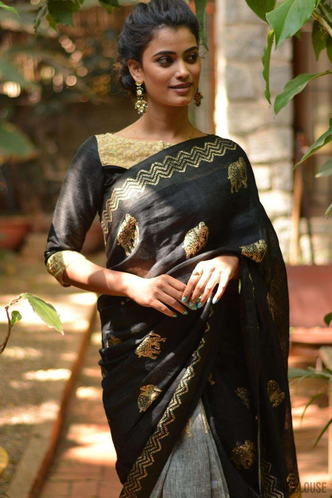 Black and grey half and half linen saree with gold block print and Gitcha pallu - House of Blouse