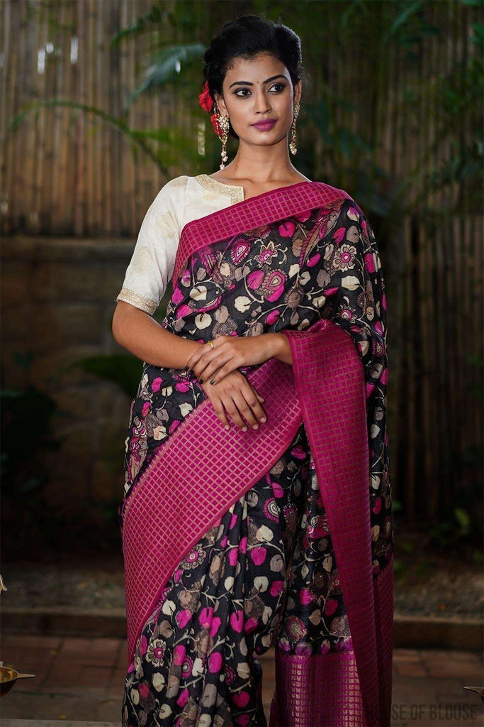Black and pink Kalamkari silk cotton saree with zari motifs and checked zari border - House of Blouse