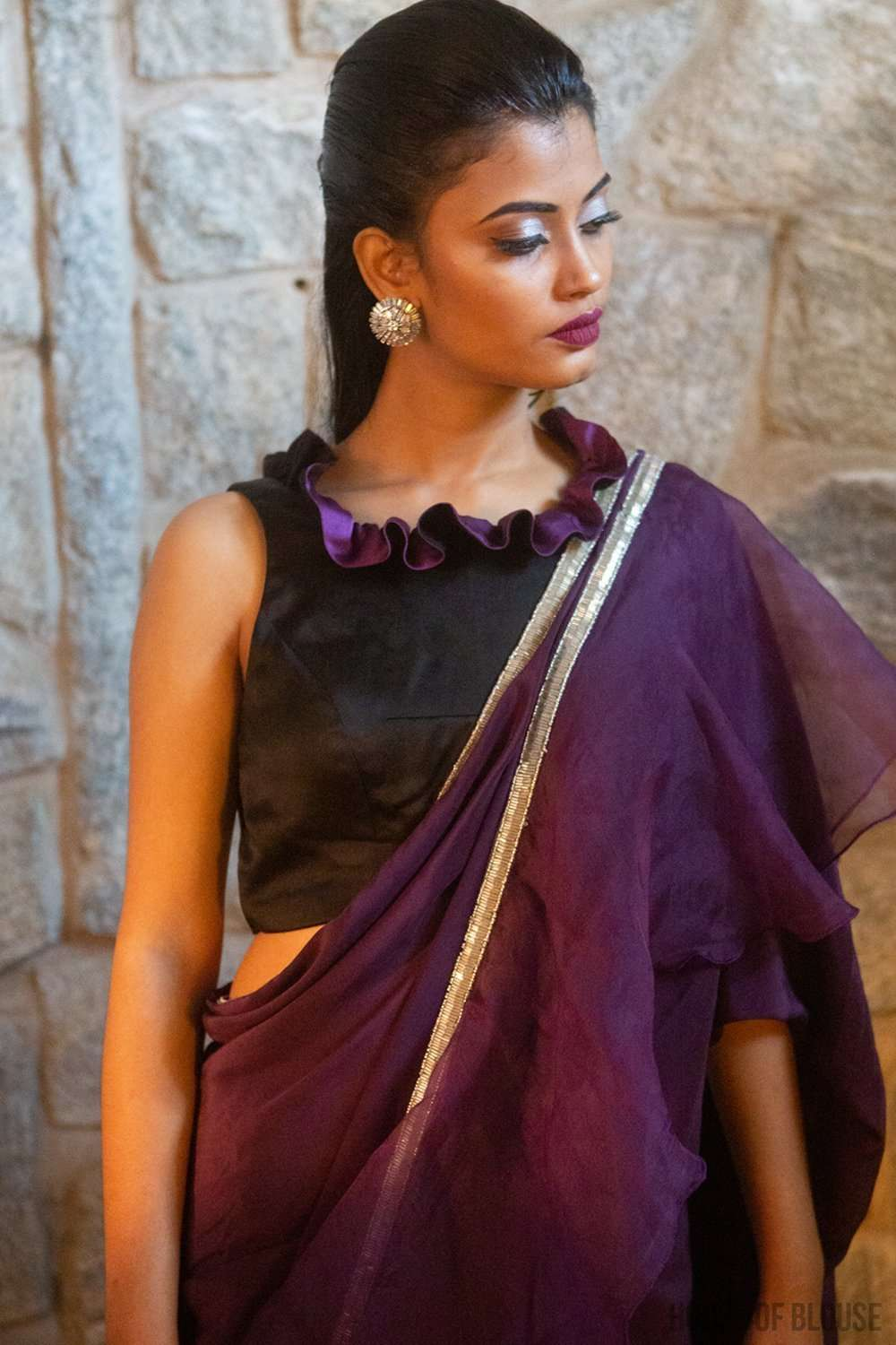 Black-and-purple pure silk satin sleeveless blouse with frill detailing - House of Blouse