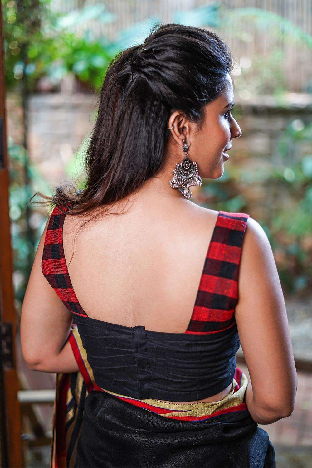 Black and red checked jute two fabric square neck sleeveless blouse - House of Blouse