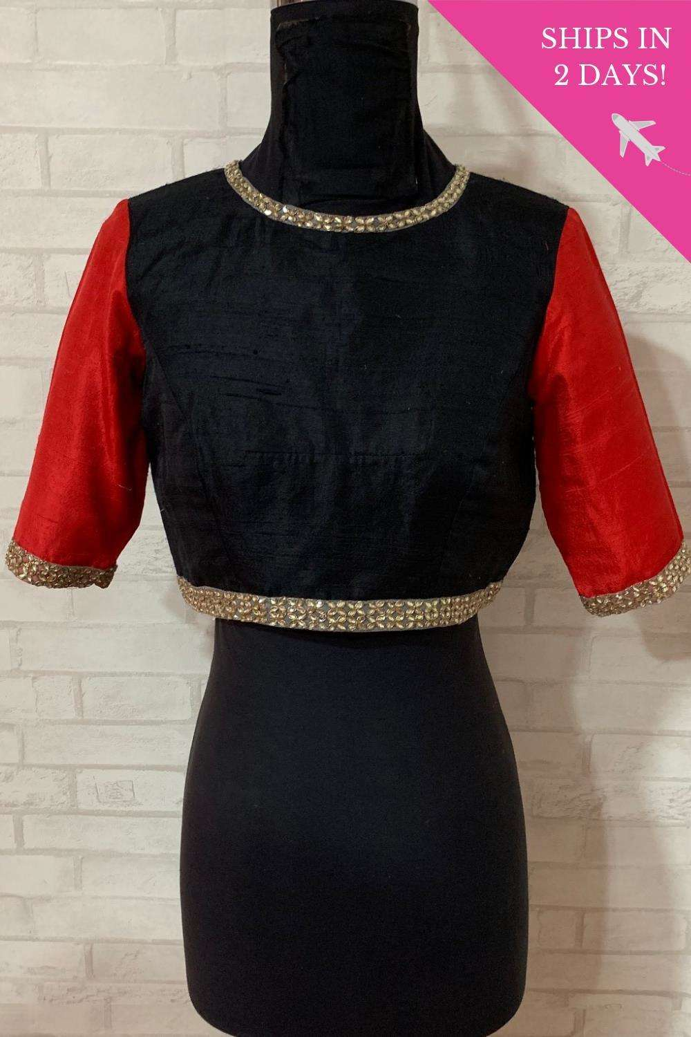 Black and red raw silk blouse with kundan border; Size: 36 - House of Blouse