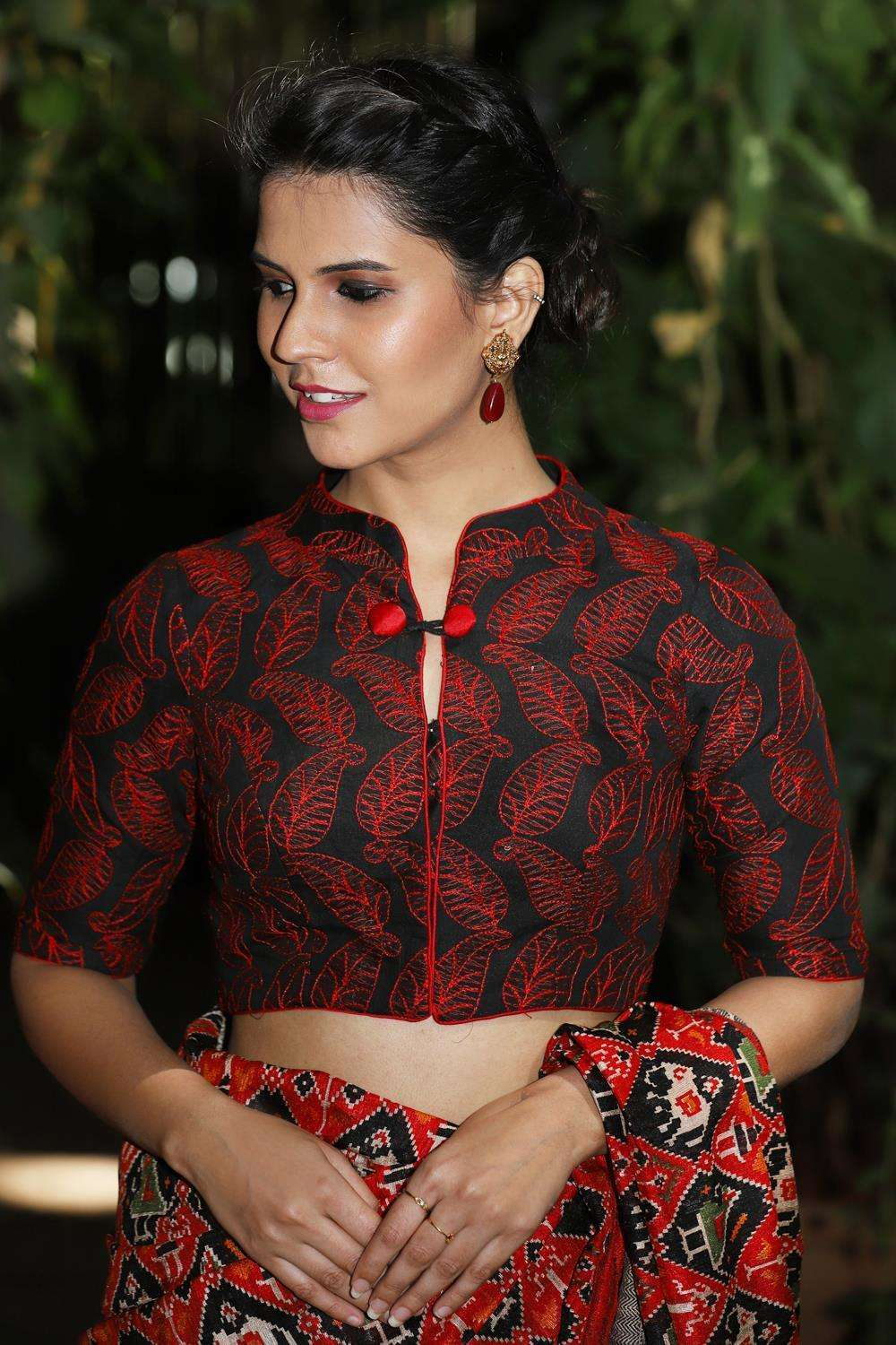Black and red threadwork chinese collar blouse - House of Blouse