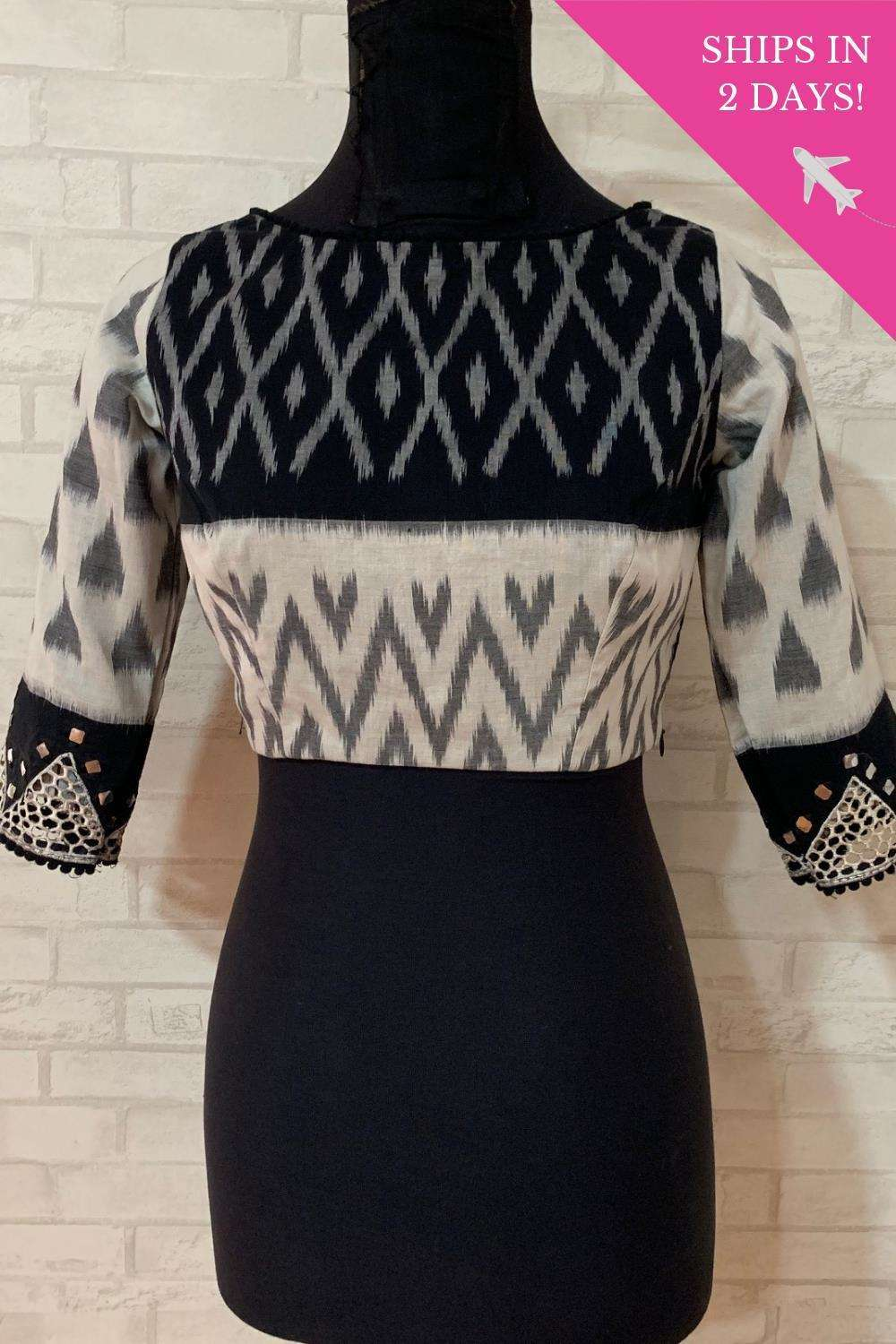 Black and white Ikat blouse with cutwork sleeves; Size: 36 - House of Blouse