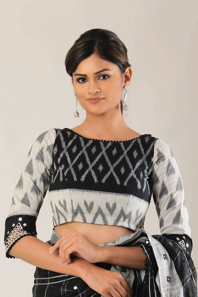 Black and white Ikat blouse with cutwork sleeves; Size: 34 - House of Blouse