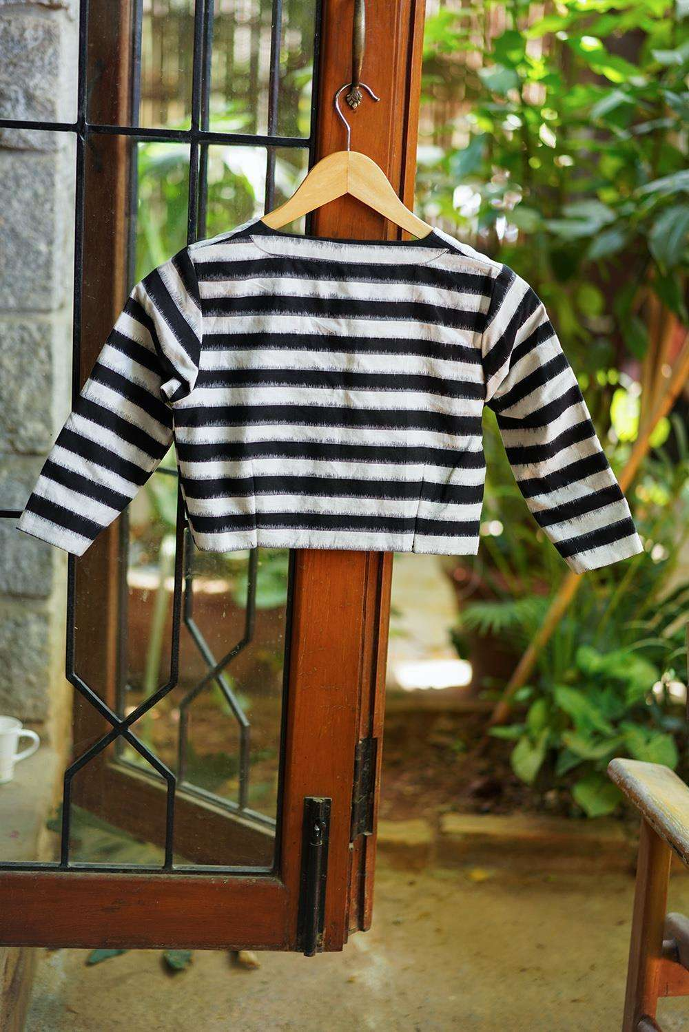 Black and white striped Ikat cotton V neck blouse - House of Blouse