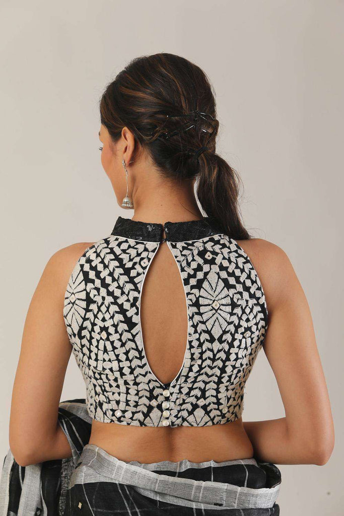 Black and white threadwork hi neck sleveless blouse - House of Blouse