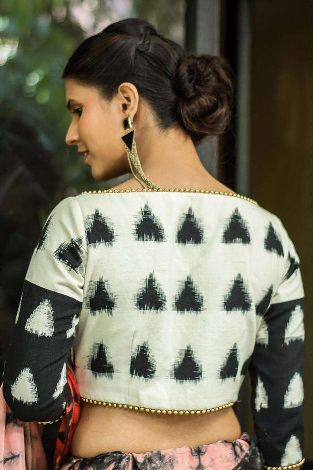 Black and white two fabric Ikat blouse with gold bead detailing